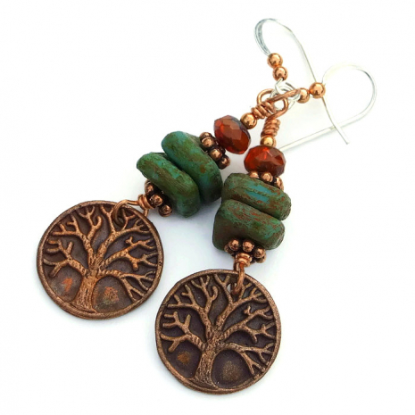 One of a kind artisan Tree of Life earrings.