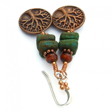 Copper Tree of Life earrings with green and orange Czech glass.