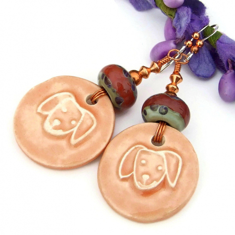 artisan ceramic dog face earrings with lampwork beads
