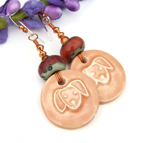 artisan ceramic dog face jewelry with lampwork beads