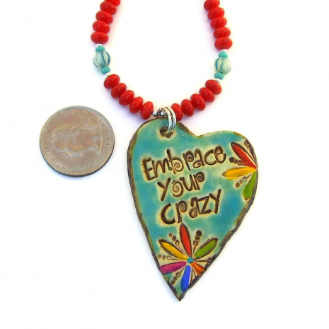 artisan handmade ceramic embrace your crazy pendant jewelry with red coral