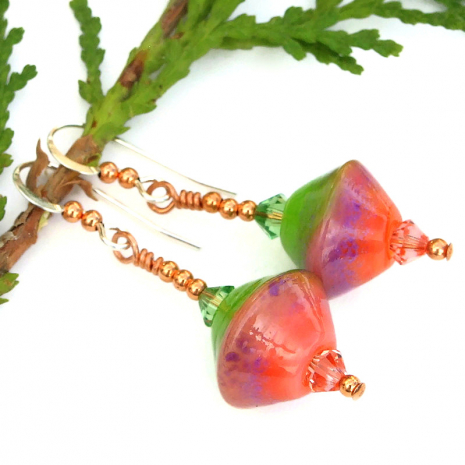artisan handmade lampwork glass earrings peach pink and lime green