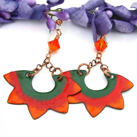 handmade sun earrings for women
