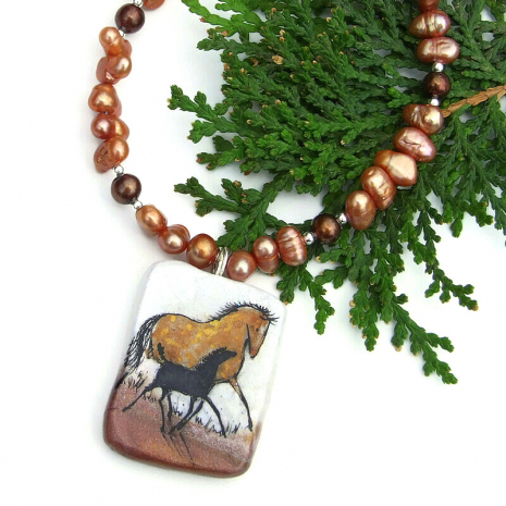 artisan handmade two horses jewelry with pearls