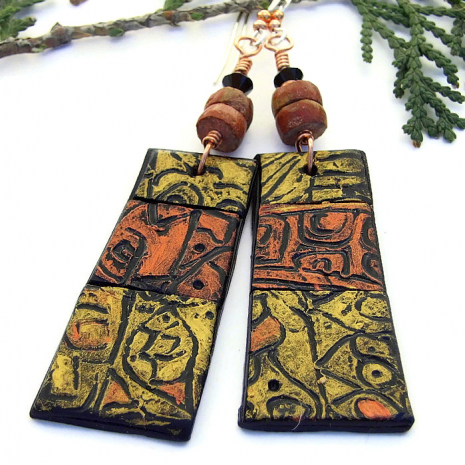 artisan metallic copper gold and black polymer clay earrings