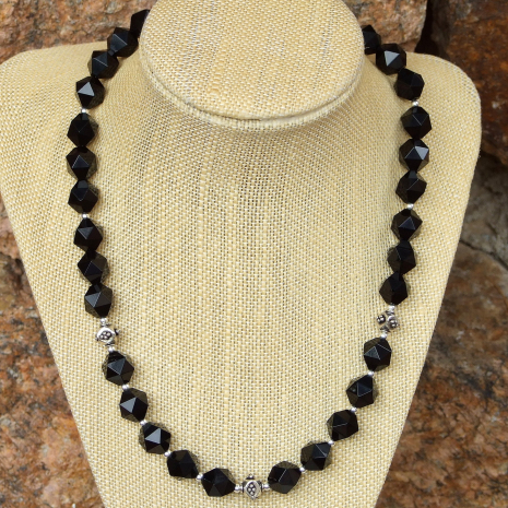 Handmade black onyx and silver necklace.