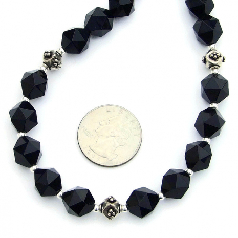 Handmade black onyx necklace with sterling silver.