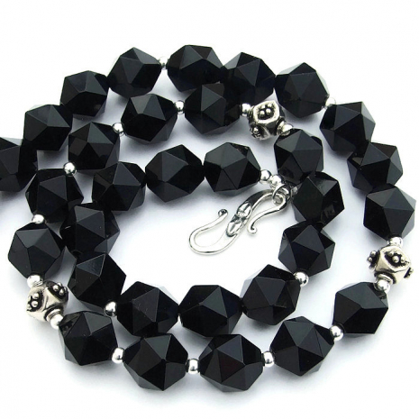 Star cut black onyx necklace - sparkling jewelry gift idea for women.