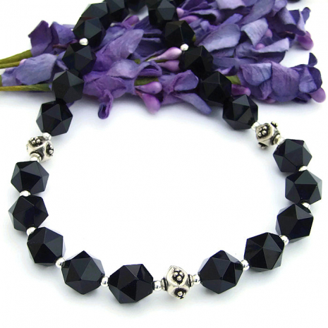 Black onyx jewelry gift idea for her.
