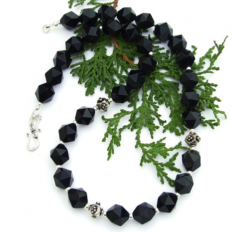 Black onyx necklace for women.