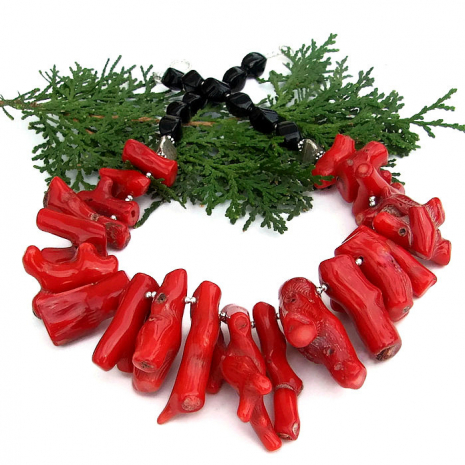 Red coral bib necklace.