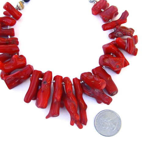 ed coral and black onyx bib necklace, jewelry gift idea