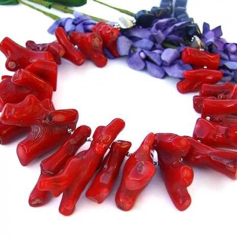Organic red coral branch necklace.