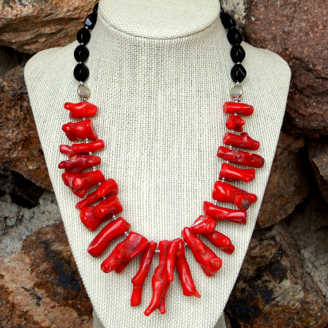 Coral and onyx statement necklace for women.