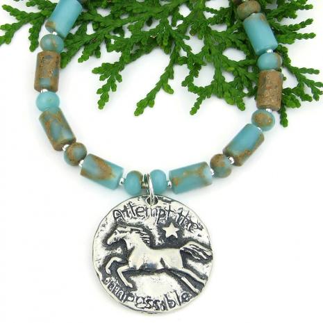 attempt the impossible horse star necklace aqua terra jasper