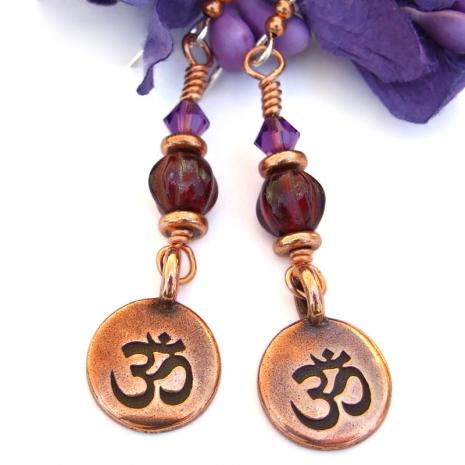 aum chakra earrings root crown chakras yoga