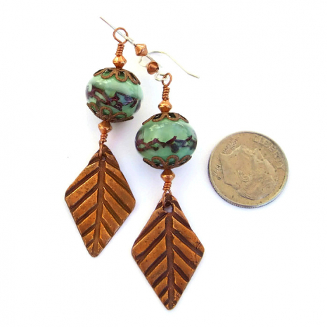 One of a kind autumn fall copper leaf and green lampwork handmade earrings.