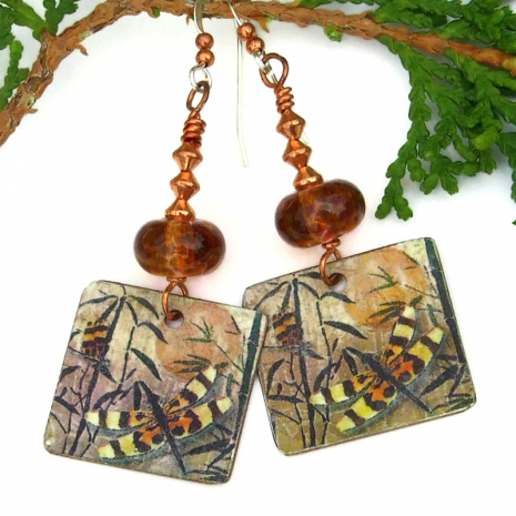 autumn colors dragonfly earrings with brown lampwork