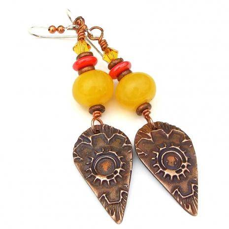autumn fall flower earrings gift for her