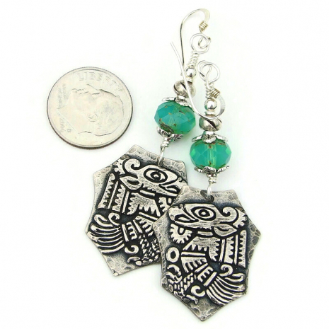 aztec bird earrings silver aqua opal beads