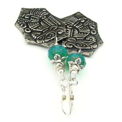 aztec bird jewelry silver aqua opal beads