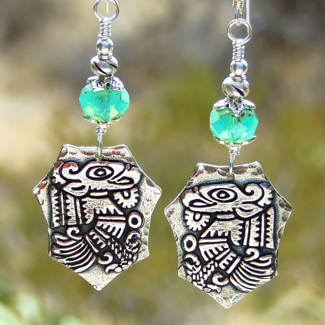 aztec mayan bird quetzalcoatl earrings gift for women