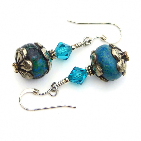 azurite and silver tibetan bead earrings gift for her
