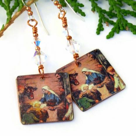 baby jesus in manger christmas earrings jewelry gift
