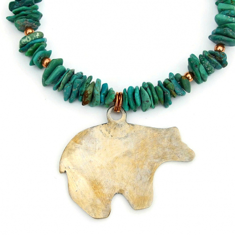 back side of bronze moon bear pendant