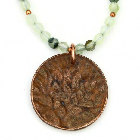 back side of copper tree of life pendant necklace