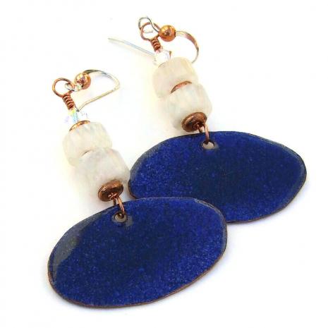 back side of hare rabbit enamel dangle earrings