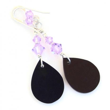 back side of paua shell teardrop earrings