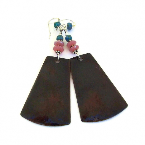 back side of pink flower enamel earrings