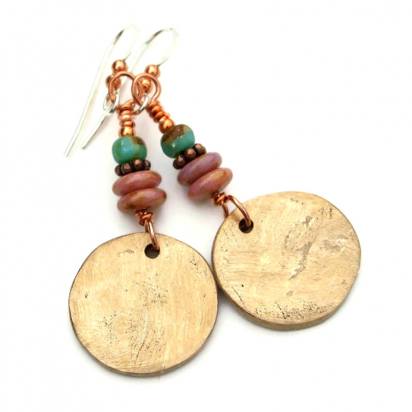 backside of bronze tree of life earrings