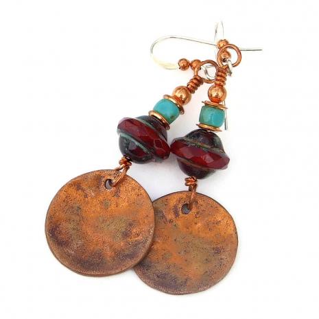 backside of copper flower mandala charms
