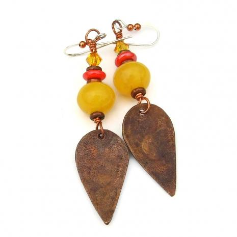 backside of copper flower sun dangle earrings