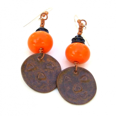 backside of copper pumpkin dangles