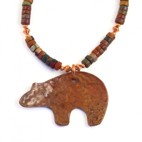 backside of copper spirit bear pendant necklace