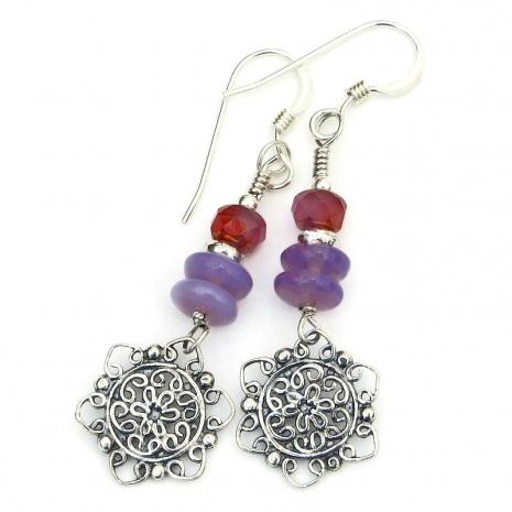 backside of filigree mandala flower charms earrings