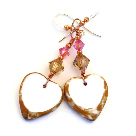 backside of hearts and flowers earrings