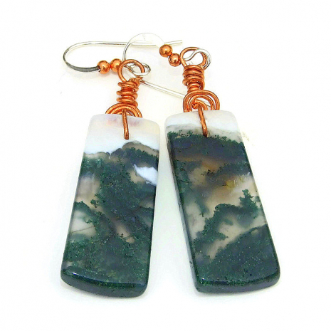 backside of moss agate earrings