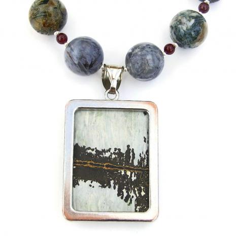 backside of natures paintbrush jasper pendant