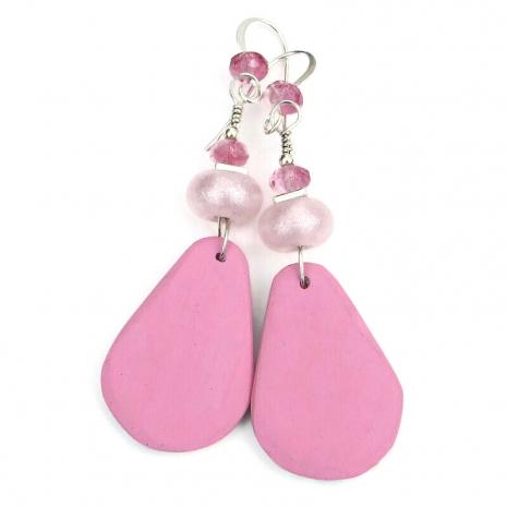 backside of pink roses flowers earrings