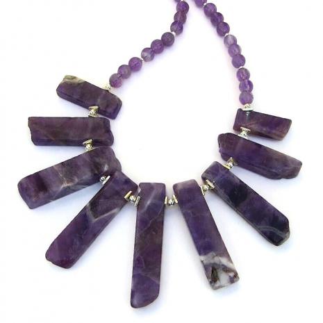 backside of purple amethyst sticks