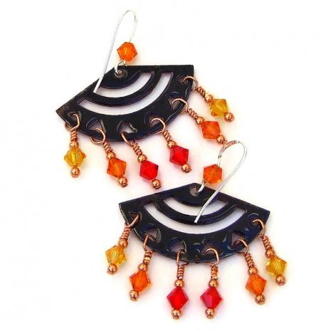 backside of red orange yellow enamel earrings dangles