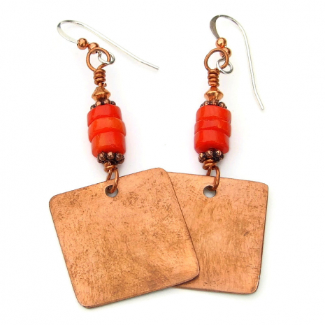 backside of red poppy copper dangle earrings