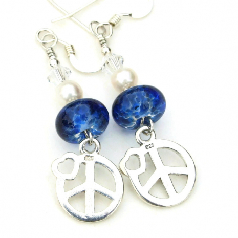 backside of sterling peace signs and hearts charms