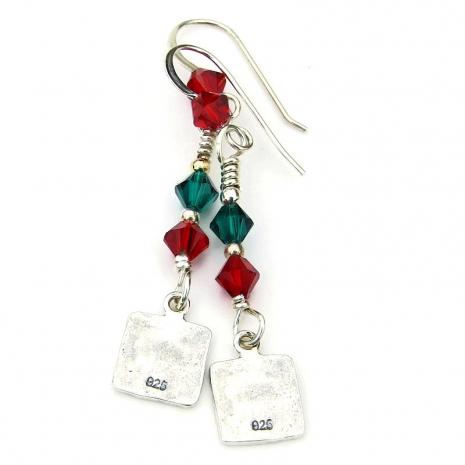 backside of sterling silver christmas tree earrings