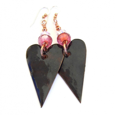 backside of valentines heart earrings