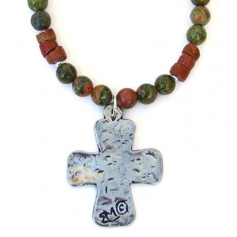 backside southwest petroglyph cross necklace